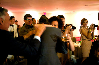 Zdenek gets a celebratory hug from Bacardi UK ambassador Shervene Shahbazkhani