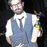 Winner Tim Robinson, clutching a 1960s vintage bottle of Luxardo.