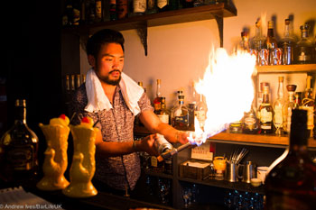 Peter Nguyen testing the fire alarm at Portside Parlour.
